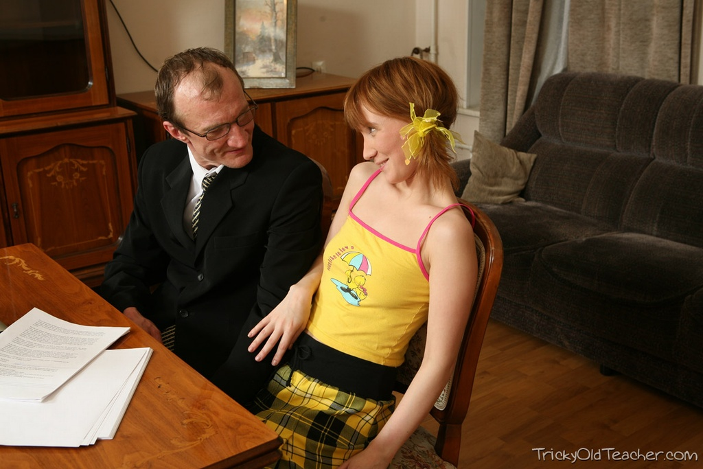 Not College girl in uniform fucked by tricky professor