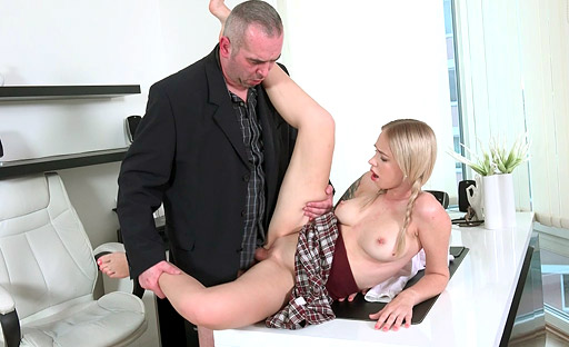 Cute student in pigtails gets fucked by the professor
