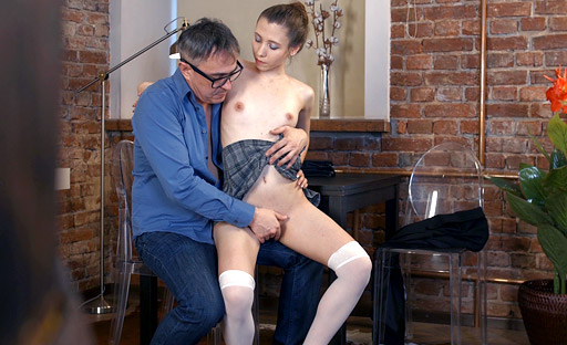 As the tricky old teacher was talking, all Nastya could do was fantasizing about fucking him