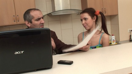 Pigtailed brunette gets seduced by her teacher