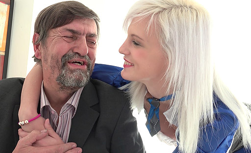 Horny Misa moans as her tricky old teacher parts her legs and thrusts her deep