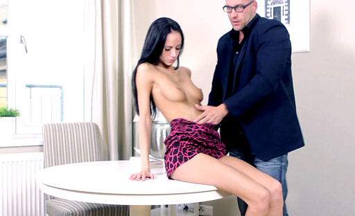 Veronika rides stud's dick so that she could get all of it inside her