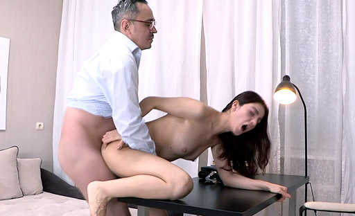 The tricky old teacher lifted up Esenia's legs before thrusting deep and hard