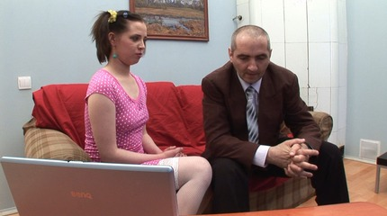 Dumb coed gets a load rather cum from her old teacher