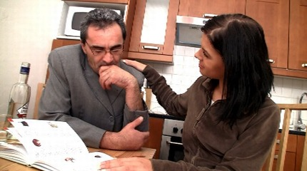 Adorable brunette rosebud fucks old teacher