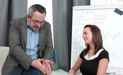 Nataly takes a little lick of cock while she looks up at tricky old teacher.