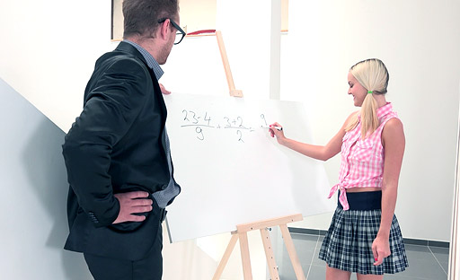Veronika flirted with and fucked her tricky old teacher in order to pass exams