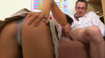 Perfect jerks his cock sucker Sheyla is in action