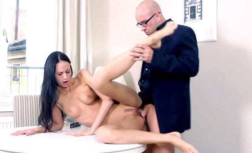 Guy makes Veronika horny and she milks the cum out of his hard cock
