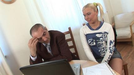 School counselor copulates hot blonde cheerleader