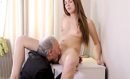 Rita is so horny she wants to suck her teacher's cock and play with her pussy!