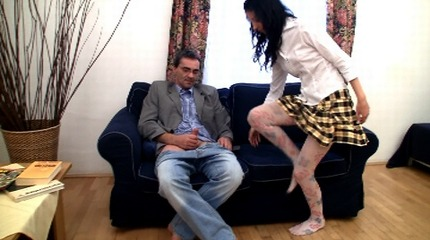Innocent extra lessons completed with wild orgy of young coed and her teacher
