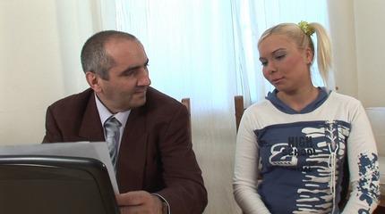 Naughty blonde cheerleader bribes her teacher