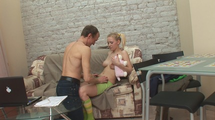 Blonde pigtailed young bitch gets banged at her instructors