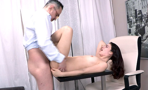 To watch Esenia's ass bounce, the tricky old teacher fucked her doggy style