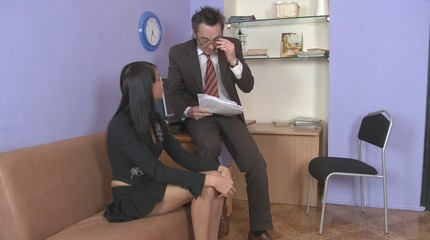 Sexy dark haired lady Jenny pleases her lustful ugly teacher