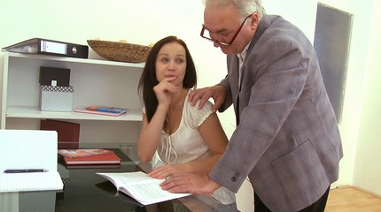 Lovely young brunette gets drilled transparent her naughty teachers big cock