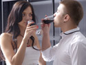Ludmila makes her boyfriend and drink some wine before he finally fucks her