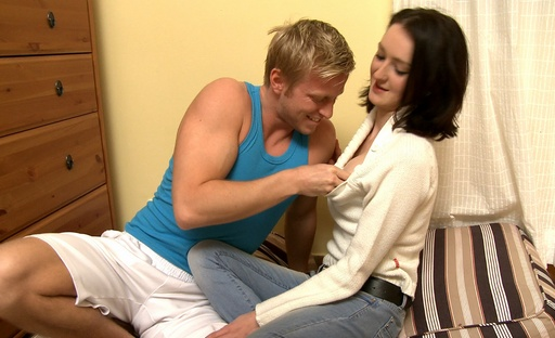 The horny man pushes his fat rod in Elizavetas tight pigeonhole