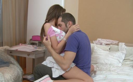 Hot chick Nastya separates her slim legs
