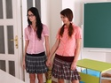 Amanda and her friend enter the teachers room where their sexy blonde teacher awaits them patiently.