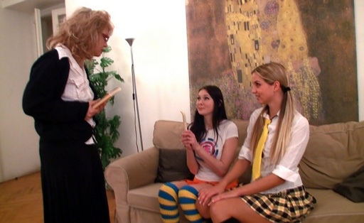 Hot chicks play lesbian games in their teachers place