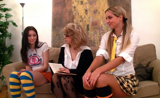 Teen girls pet they can t live withoutmselves on they love sofa
