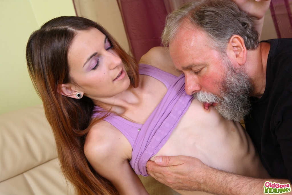 old guy with young girl boobs