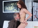 This old guy is lucky enough to have a young chick undressing in front of him