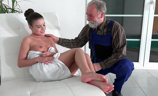 Teen babe Anita enjoys some senior citizen cock