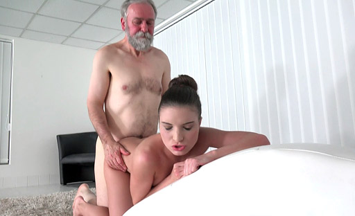 Teen babe Anita enjoys some senior citizen cock