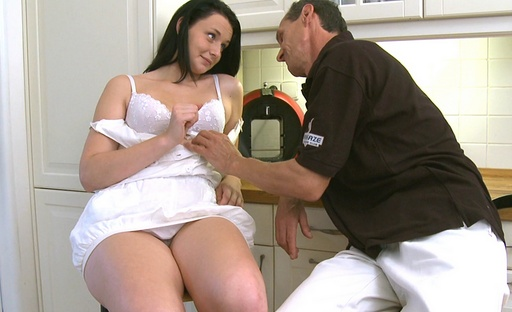 Tiffany gets bent over the desk by her older this guy