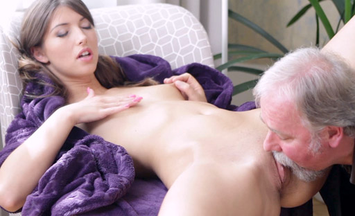 Marisa likes to rub a hard cock all over her face before sucking the old man's dick.