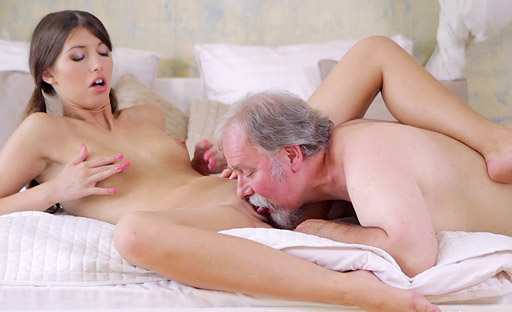 Kira likes to rub a hard cock all over her face before sucking the old man's dick.