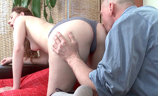 Alina loves it when an old goes young dude slides his dick in her pussy from behind.