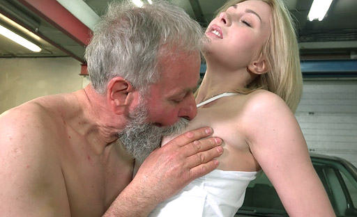 Old goes young executive does not resist hot Frances' advances to him