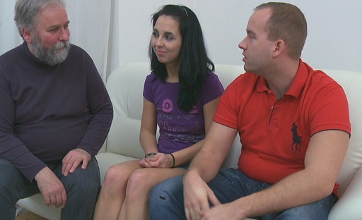 Tracy has always dreamed about fucking two guys at the same time, she never thought he'd be an old dude though
