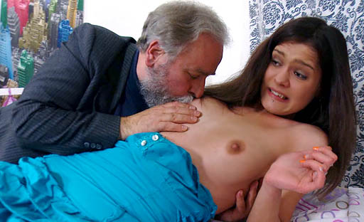 After a pussy eating, Nadya drops to her knees and sucks his older cock well.