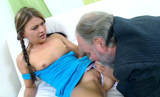 Anna is fucked hard by her older man and he fucks her young pussy harder and harder