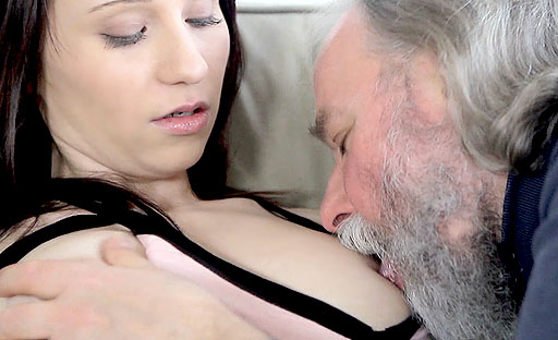 Alina gets her first taste of a mature dude that loves to eat and fuck young pussy.