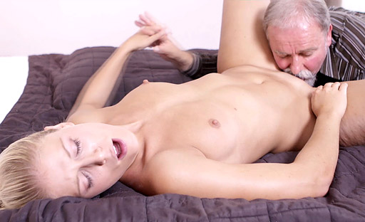 Elena likes to get fucked from behind with the old guy's hands all over her tits!