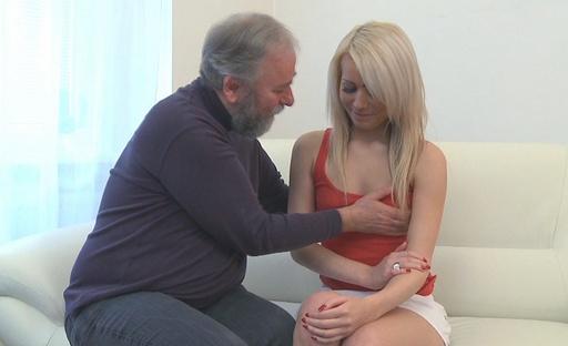 Cute blonde babe fucks old bearded guy