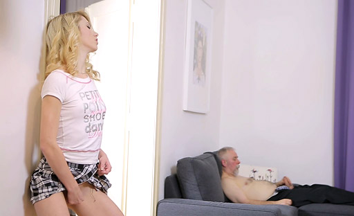 Turned on by Helena's nice ass, old goes young fan fucks her from behind