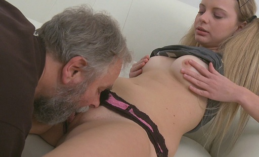 When Jane sucks on this old guy's cock she simply can't get enough, it turns her wild.