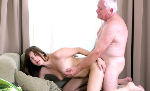 Rita likes to suck old cock before getting fucked in her tight young pussy.