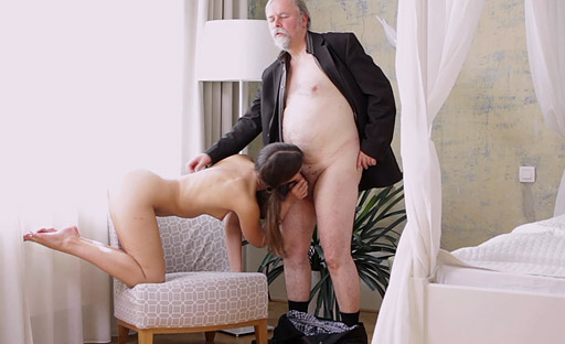 Riding reverse cowgirl is one of Marisa's favorite positions when she fucks on old man!