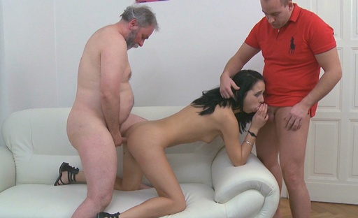 Tracy is as surprised as her boyfriend is when he catches her screwing an older guy