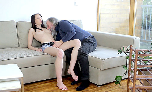 This grandpa hasn't had sex in a long time. A young, fresh whore presents herself: he takes it.