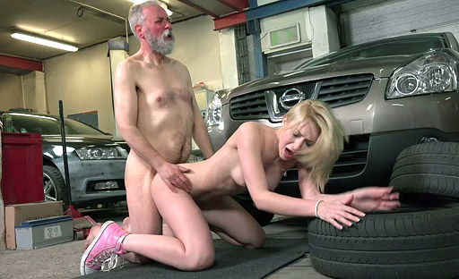 Naughty Frances fucked and satisfied by old goes young guy she seduced