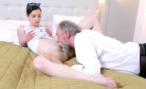 This old goes young guy fucked Lenka doggystyle so he could admire her ass